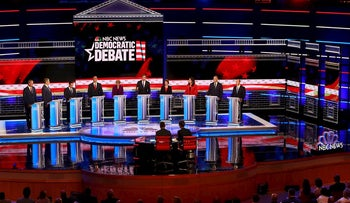 2020 Democratic candidates for president listen to a question during the Democratic primary debate hosted by NBC News at the Adrienne Arsht Center for the Performing Arts, Wednesday, June 26, 2019, in Miami.