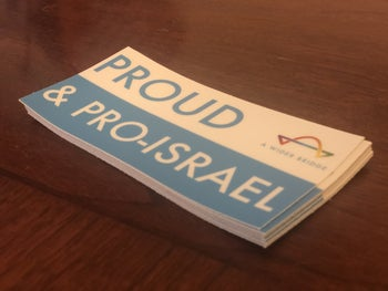 'Proud and pro-Israel': Promotional material for the A Wider Bridge organization