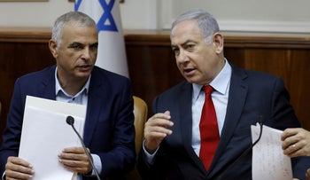 Finance Minister Moshe Kahlon and Prime Minister Benjamin Netanyahu at a government meeting, Jerusalem, June 24, 2019.