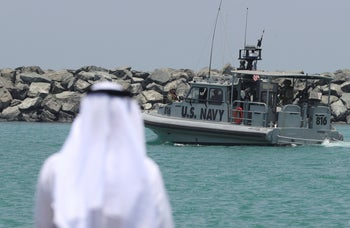 A U.S. Navy patrol boat carrying journalists to see damaged oil tankers leaves a U.S. Navy 5th Fleet base near Fujairah, United Arab Emirates, June 19, 2019.