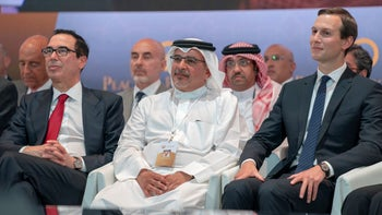 "Treasury Secretary Mnuchin, Bahrain Crown Prince Salman bin Hamad Al Khalifa and Jared Kushner attend the opening session of the ""Peace to Prosperity"" workshop in Manama, Bahrain, June 25, 2019."