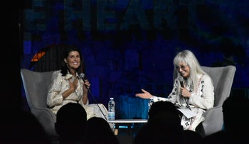 Nikki Haley and Miriam Adelson at the Israel Hayom Forum for U.S.-Israel Relations, June 27, 2019.