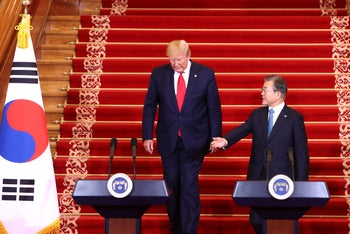 Trump and South Korea's Moon at a joint press conference at the presidential Blue House in Seoul, South Korea, June 30, 2019.