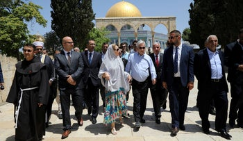 The Dome of the Rock is seen in the background as Chilean President Sebastian Pinera and his wife Cecilia Morel visit Jerusalem's Temple Mount, June 25, 2019.