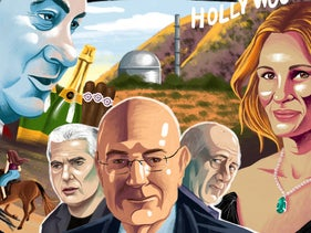 A drawing of Arnon Milchan at center stage on the cover of TheMarker's magazine section, June 2019.