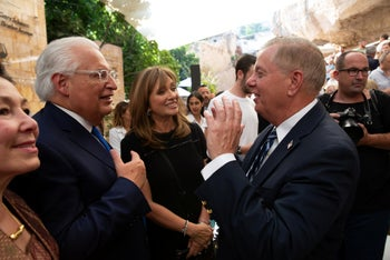 Friedman and Graham at the ceremony, Silwan, June 30, 2019.