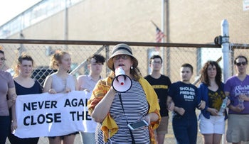 Jewish protesters demonstrate in front Immigration and Customs Enforcement detention center under the slogan 'Never Again,' New Jersey, NY, June 30, 2019.