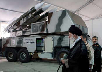 """Iran's Supreme Leader Ayatollah Ali Khamenei observing a """"3 Khordad"""" system which is said to had been used to shoot down a U.S. military drone last month"""