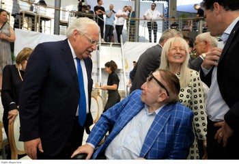 U.S. Ambassador to Israel David Friedman, Sheldon Adelson and his wife Miriam at the ceremony inaugurating the 'Path of the Pilgrims' in Silwan, June 30, 2019.