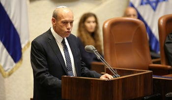 Matanyahu Englman speaks at the Knesset in Jerusalem, July 1, 2019.