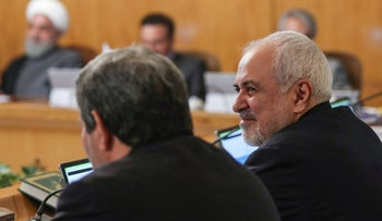 Iranian Foreign Minister Mohammad Javad Zarif attending a cabinet meeting in Tehran, June 26, 2019.