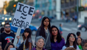 Rally against a Trump administration plan to use an Oklahoma army base as a detention center for immigrant children and other Customs Enforcement detainees outside the Japanese American National Museum, in California, June 9, 2019