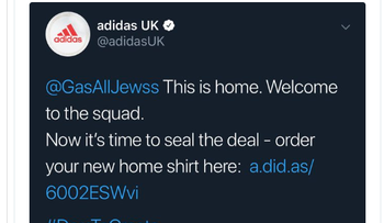 Screenshot of one of the offensive tweets that slipped into the #DareToCreate Adidas UK campaign to sell Arsenal t-shirts via Twitter.