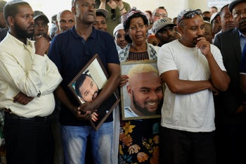 Mourners at  Solomon Teka's funeral on July 2, 2019.