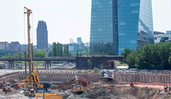The empty construction site near the European Central Bank headquarters in Frankfurt  where a 500kg world war bomb was discovered, on June 25, 2019.