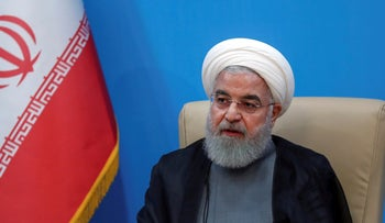 President Hassan Rohani attends a meeting with the Health Ministry officials, in Tehran, Iran, June 25, 2019.