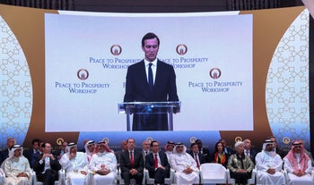 "White House senior adviser Jared Kushner speaks at the ""Peace to Prosperity"" conference in Manama, Bahrain, June 25, 2019"