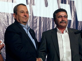 Ehud Barak and Amir Peretz back in 2008 when both were Labor Party leaders.