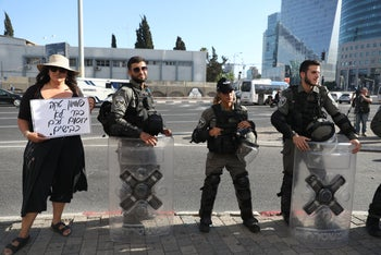 Police gear up fpr protests over the deadly police shooting of Ethiopian Israeli teen Solomon Teka, in Tel Aviv, July 3, 2019.