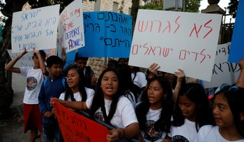 Protests against the deportation of Filipino children in front of the prime minister's residence, Jerusalem, June 11, 2019.