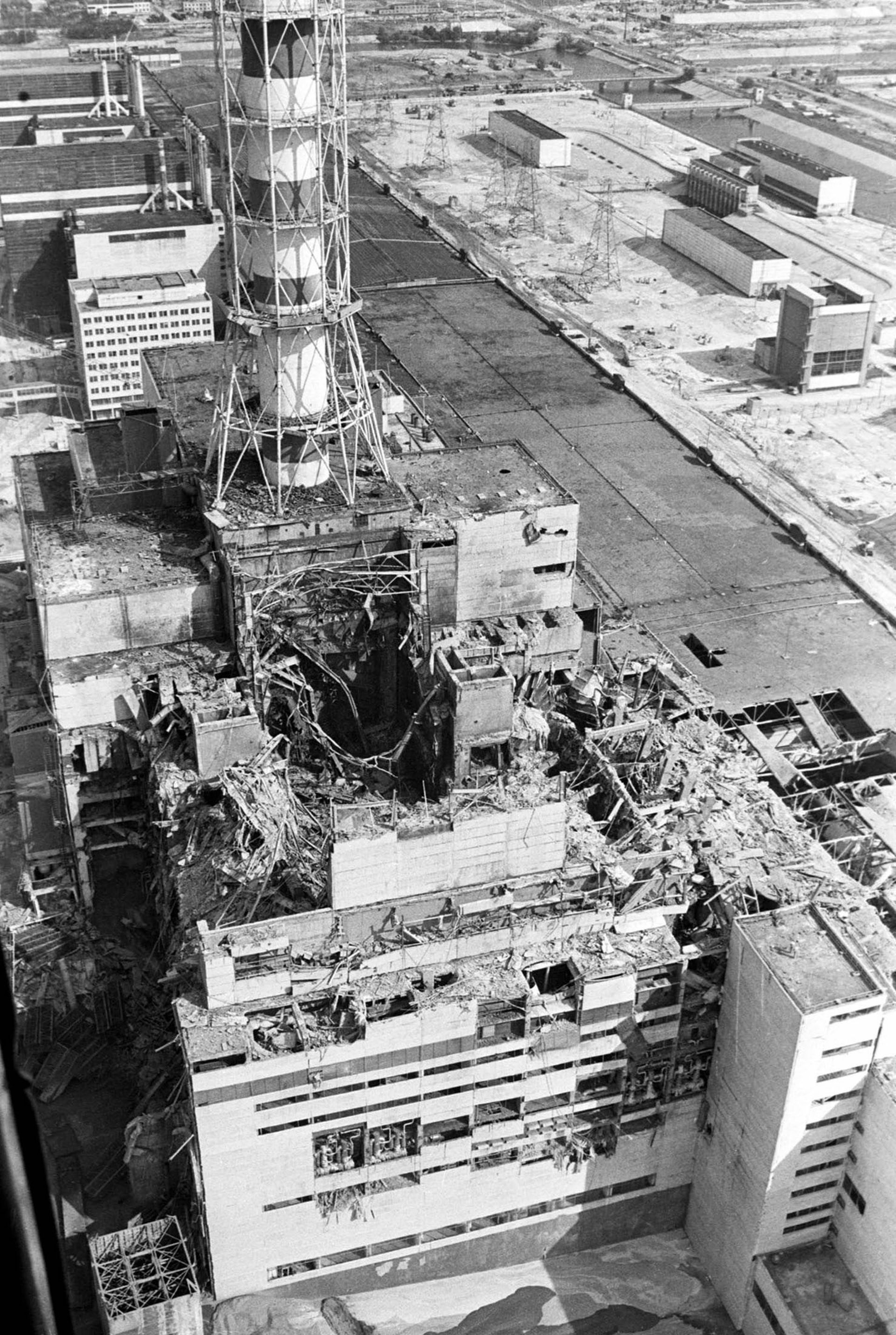 The pit in the middle of the Chernobyl nuclear reactor, after the explosion.