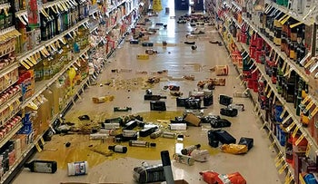 Broken bottles and other goods in a store in Lake Isabella, California after an earthquake on July 4, 2019.