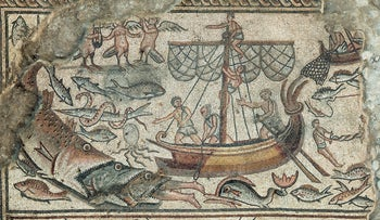 Mosaic depicting Jonah being swallowed by a fish, Huqoq synagogue.