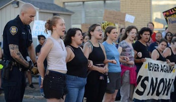 Members of the group Never Again Action protesting immigrant detention policies, Boston, July 2019.