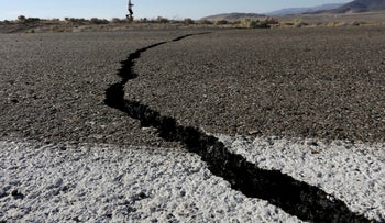Fissures that opened up under a highway during an earthquake that struck Southern California seen near the city of Ridgecrest, California,, July 4, 2019.