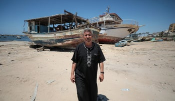 Al-Habil with his boat after it was returned by Israel, Gaza, July 2, 2019.