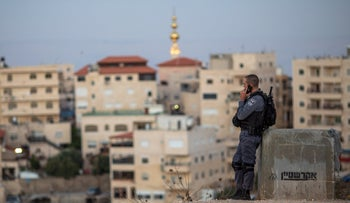 An Israeli Police officer in Issawiyah, East Jerusalem, July 4, 2019.