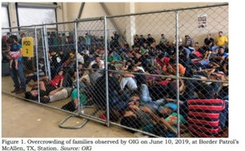 An image released in a report on July 02, 2019 by the US Department of Homeland Security's Inspector General Office shows migrant families in overcrowded conditions at a Border Patrol facility. June 10, 2019, McAllen, Texas