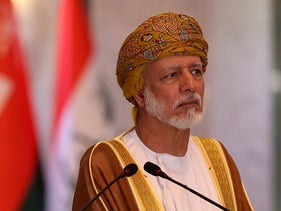 File photo: Omani Foreign Minister Yusuf bin Alawi holds a press conference at the Ministry of Foreign Affairs Building in Baghdad, Iraq, June 12, 2019.