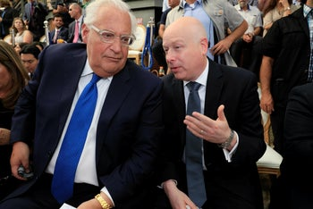 U.S. Ambassador to Israel David Friedman and White House Mideast envoy Jason Greenblatt attend the opening of an ancient road at the City of David, in Silwan, East Jerusalem. 30 June 2019