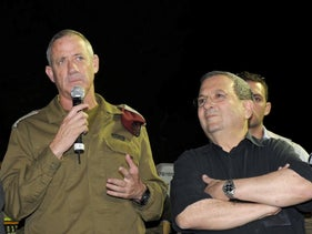 Then Chief of Staff Benny Gantz and then Defense Minister Ehud Barak attend a national earthquake drill held by the Home Front Command, in Holon, Israel, on October 21, 2010.