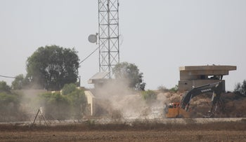 A bulldozer working after a tunnel from Gaza was uncovered, July 8, 2019.