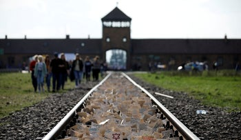 Participants at the 'March of the Living' to commemorate the Holocaust at Auschwitz, Brzeznika, Poland, May 2, 2019.