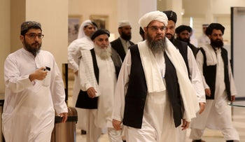 Taliban members attend the Intra Afghan Dialogue talks in the Qatari capital Doha on July 7, 2019.