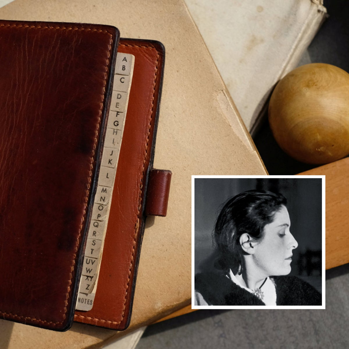 Dora Maar, Pablo Picasso's muse and model, during winter 1935-1936, and her Hermès notebook.