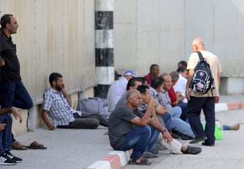 Palestinians at the Erez border crossing, July 9, 2019.