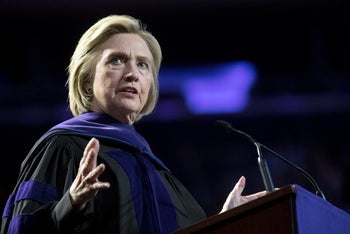 Former Secretary of State Hillary Clinton delivers a speech at Hunter College, New York, May 29, 2019.