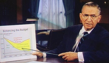 In this Oct. 16, 1992, file photo, Ross Perot is shown on a screen in a paid 30-minute television commercial, during a media preview in Dallas. Perot, the Texas billionaire who twice ran for president, has died, a family spokesperson said Tuesday, July 9, 2019. He was 89