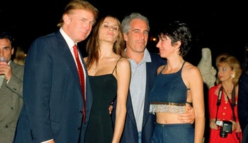 Ghislaine Maxwell poses with Jeffrey Epstein and Donald and Melania Trump at the Mar-a-Lago club, Palm Beach, Florida, February 12, 2000.