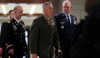 U.S. Chairman of the Joint Chiefs Marine Corps General Joseph Dunford arrives to hold a classified briefing on Iran, Capitol Hill, Washington, U.S. May 21, 2019.