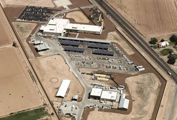 Aerial view of the U.S. Border Patrol facility where attorneys reported detained migrant children held in disturbing conditions, Clint, Texas, June 28.