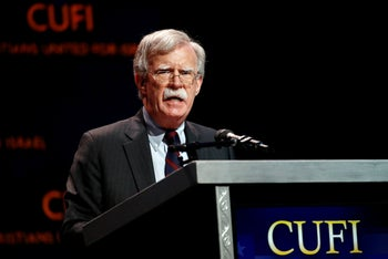 John Bolton speaks at the Christians United for Israel summit, Washington, July 8, 2019.