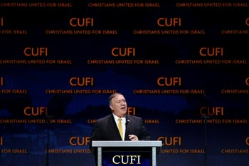 Mike Pompeo speaks at the Christians United for Israel summit, Washington, July 8, 2019.