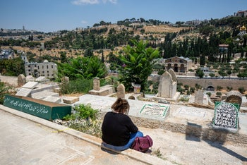 The Bab al-Rahma Muslim cemetery on the east side of the Old City of Jerusalem.