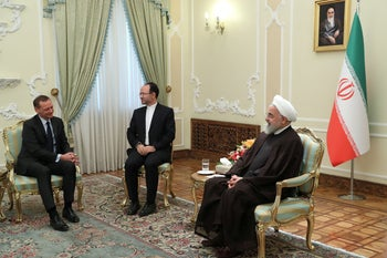 Iran's President Hassan Rohani meeting with the diplomatic adviser to the French president in Tehran, July 10, 2019.