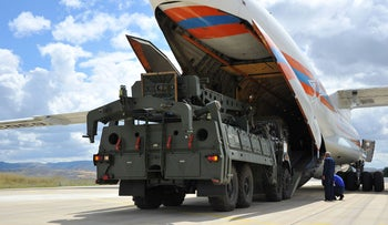 A Russian military cargo plane carrying S-400 missile defence system from Russia to the Murted military airbase in Ankara, July 12, 2019